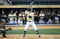 Cole McNamee (40) of the Wake Forest Demon Deacons at bat against the Notre Dame Fighting Irish at David F. Couch Ballpark on March 10, 2019 in  Winston-Salem, North Carolina. The Demon Deacons defeated the Fighting Irish 7-4 in game one of a double-header.  (Brian Westerholt/Four Seam Images)
