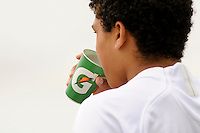 A player drinks Gatorade during day one of the US Soccer Development Academy  Spring Showcase in Sarasota, FL, on May 22, 2009.