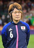 August 03, 2012  Japan's Mizuho Sakaguchi during the singing of National Antherm before Group F match between JPN and BRA at the Millennium Stadium. .