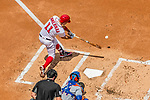 30 April 2017: Washington Nationals first baseman Ryan Zimmerman connects for an RBI single to center in the first inning against the New York Mets at Nationals Park in Washington, DC. The Nationals defeated the Mets 23-5, with the Nationals setting several individual and team records, in the third game of their weekend series. Mandatory Credit: Ed Wolfstein Photo *** RAW (NEF) Image File Available ***