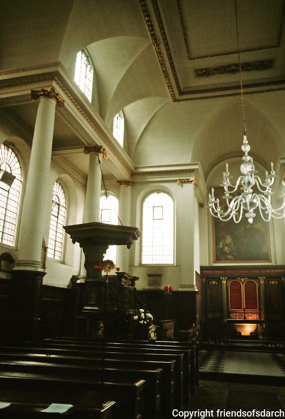 Sir Christopher Wren: St. James Garlickhythe, London 1686. Interior detail.