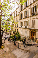 Stairs on Rue Chappe in the 18th arrondeissement leading to the Butte Montmatre and Sacre Coeur Church, Paris, France.