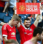 Manchester United fans hold up banners during the UEFA Europa League Final match at the Friends Arena, Stockholm. Picture date: May 24th, 2017.Picture credit should read: Matt McNulty/Sportimage