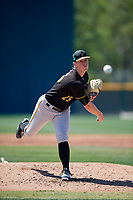Pittsburgh Pirates pitcher Adam Oller (25) during a minor league Spring Training game against the Atlanta Braves on March 13, 2018 at Pirate City in Bradenton, Florida.  (Mike Janes/Four Seam Images)