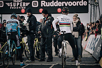 CX world champion Wout Van Aert (BEL/Crelan-Charles) on the start line<br /> <br /> Super Prestige Ruddervoorde / Belgium 2017