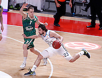 Real Madrid's Sergio Llull (r) and Union Olimpija Ljubljana's Klemen Prepelic during Euroleague 2012/2013 match.December 13,2012. (ALTERPHOTOS/Acero) /NortePhoto