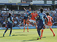 Blackpool's John O'Sullivan vies for possession with Wycombe Wanderers' Randell Williams<br /> <br /> Photographer Kevin Barnes/CameraSport<br /> <br /> The EFL Sky Bet League One - Wycombe Wanderers v Blackpool - Saturday 4th August 2018 - Adams Park - Wycombe<br /> <br /> World Copyright &copy; 2018 CameraSport. All rights reserved. 43 Linden Ave. Countesthorpe. Leicester. England. LE8 5PG - Tel: +44 (0) 116 277 4147 - admin@camerasport.com - www.camerasport.com