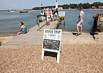 Sign for river trip today on River Deben estuary, Felixstowe Ferry, Suffolk, England, UK