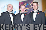 ESCORTS: Denis Griffin (co-organiser) Mick McDonnell (Listowel) and Shane ladden (Castlemaine) escorts for the 24 kerry rose contestants at Ballyroe Heights Hotel, Tralee on Friday evening.
