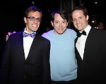 Eric Sciotto (Gypsy Recepient-PAL JOEY),  Matthew Broderick with David Eggers (CURTAINS).during the Broadway Opening Night Gypsy Robe Ceremony honoring Cameron Adams in 'Nice Work If You Can Get It' at the ImperialTheatre on 4/24/2012 in New York City.