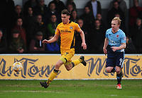 Newport County's Sid Nelson under pressure from Blackpool's Mark Cullen<br /> <br /> Photographer Kevin Barnes/CameraSport<br /> <br /> The EFL Sky Bet League Two - Saturday 18th March 2017 - Newport County v Blackpool - Rodney Parade - Newport<br /> <br /> World Copyright &copy; 2017 CameraSport. All rights reserved. 43 Linden Ave. Countesthorpe. Leicester. England. LE8 5PG - Tel: +44 (0) 116 277 4147 - admin@camerasport.com - www.camerasport.com