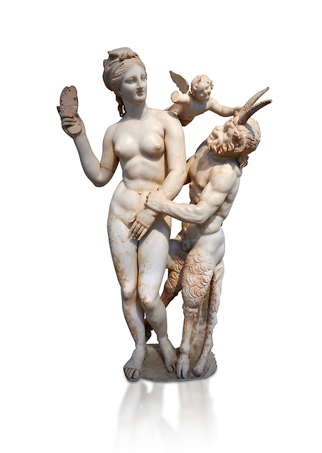 Hellenstic marble statue group of Aphrodite (Venus) with Pan and Eros, Circa 100 BC, House of Poseidonaistai of Beryttos, Delos, Athens National Archaeological Museum.  Cat no 3335. Against white.<br /> <br /> The nude goddess Aphrodite (Venus) attempte to fend off goat footed Pan who make erotic advances towards her. Aphrodite holds a sandal in her right hand threatening Pan while the winged god Eros comes to her aid. According to an inscription on the statues base it was dedicated to Dionysus of Beryttos (Beirut) to hai ancestral gods.