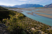 The braided Rakaia river with Mount Algidus in the distance, Ashburton District, Canterbury, South Island, New Zealand.