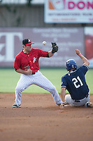 Kannapolis Intimidators second baseman Ryan Leonards (13) can't handle the throw as Josh Fuentes (21) of the Asheville Tourists steals second base at Intimidators Stadium on June 25, 2015 in Kannapolis, North Carolina.  The Intimidators defeated the Tourists 9-8.  (Brian Westerholt/Four Seam Images)