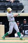 WAKE FOREST, NC - APRIL 15: Notre Dame's Matt Vierling drives in two runs in the first inning. The Wake Forest Demon Deacons hosted the University of Notre Dame Fighting Irish on April 15, 2017, at David F. Couch Ballpark in Wake Forest, NC in a Division I College Baseball game. Wake Forest won the game 13-7.
