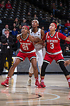 DD Rogers (21) and Miah Spencer (3) of the North Carolina State Wolfpack box out Milan Quinn (32) of the Wake Forest Demon Deacons during first half action at the LJVM Coliseum on January 8, 2017 in Winston-Salem, North Carolina.  The Wolfpack defeated the Demon Deacons 65-50.  (Brian Westerholt/Sports On Film)