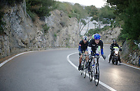 The reduced breakaway of Marc de Maar (NLD/UnitedHealthcare), Maarten Tjallingii (NLD/Belkin) and Matteo Bono (ITA/Lampre Merida) climb the Capo Berta as their advantage is eroded by a Cannondale-led peloton<br /> <br /> 2014 Milano - San Remo