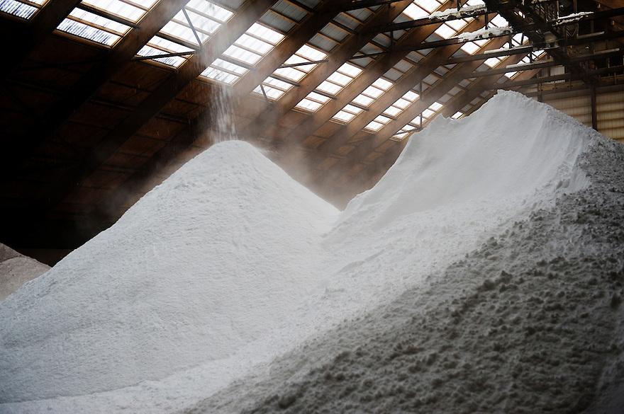 Nederland, Harlingen, 14 januari 2010.Zoutproductie bij Frisia Zout - Estec Frisia..Geproduceerd zout wordt in de opslag hal gestort...Foto (c) Michiel Wijnbergh..Salt production