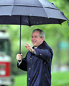 Washington, D.C. - April 21, 2008 -- United States President George W. Bush waves to guests as he walks to Marine 1 to depart from the South Lawn of the White House for meetings in New Orleans, Louisiana with President Felipe de Jesus Calderon Hinojosa of Mexico and Prime Minister Stephen Harper of Canada.<br /> Credit: Ron Sachs / Pool via CNP