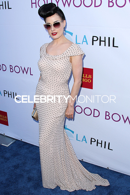 HOLLYWOOD, LOS ANGELES, CA, USA - JUNE 21: Model Dita Von Teese arrives at the 2014 Hollywood Bowl Opening Night And Hall Of Fame Inductions held at the Hollywood Bowl on June 21, 2014 in Hollywood, Los Angeles, California, United States. (Photo by Xavier Collin/Celebrity Monitor)