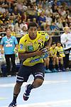 Rhein Neckar Loewe Mads Mensah Larsen (Nr.22)  beim Spiel in der Handball Bundesliga, SG BBM Bietigheim - Rhein Neckar Loewen.<br /> <br /> Foto &copy; PIX-Sportfotos *** Foto ist honorarpflichtig! *** Auf Anfrage in hoeherer Qualitaet/Aufloesung. Belegexemplar erbeten. Veroeffentlichung ausschliesslich fuer journalistisch-publizistische Zwecke. For editorial use only.