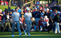 Martin Kaymer (Team Europe) and Sergio Garcia (Team Europe) fate lies at the 17th green during the Saturday Afternoon Four-Balls, at the 41st Ryder Cup 2016, at Hazeltine National Golf Club, Minnesota, USA.  01View of the 10th2016. Picture: David Lloyd | Golffile.