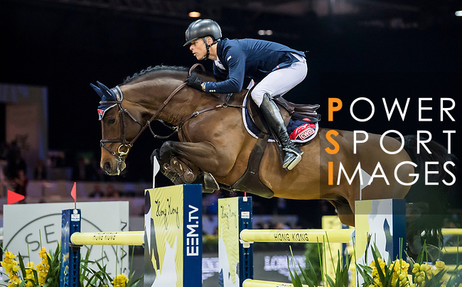 Max Kuhner of Austria riding Clelito Lindo 2 competes in the Longines Grand Prix during the Longines Masters of Hong Kong at AsiaWorld-Expo on 11 February 2018, in Hong Kong, Hong Kong. Photo by Zhenbin Zhong / Power Sport Images