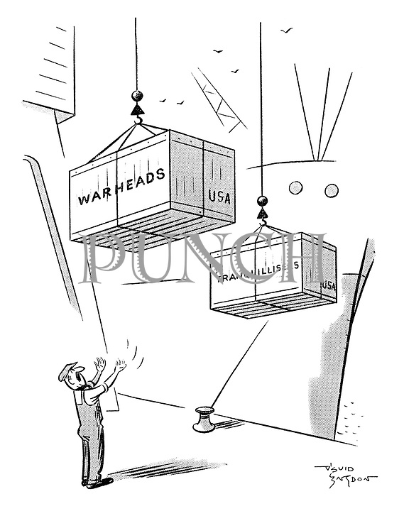 (A dockworker guides crates of imported tranqullisers and warheads from America off a ship)