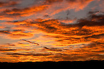 Colorful sunrise and clouds, Morning, Warm Springs, Nevada.