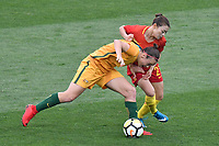 26 November 2017, Melbourne - CAITLIN FOORD (9) of Australia and XU YANLU (21) of China PR fight for the ball during an international friendly match between the Australian Matildas and China PR at GMHBA Stadium in Geelong, Australia.. Australia won 5-1. Photo Sydney Low