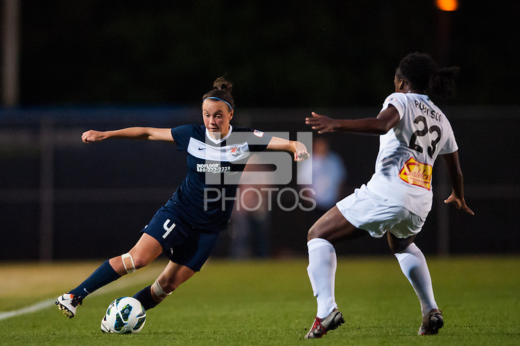 Sky Blue FC defender Caitlin Foord (4) is marked by Western New York Flash midfielder Jodi-Ann Robinson (23). The Western New York Flash defeated Sky Blue FC 3-0 during a National Women's Soccer League (NWSL) match at Yurcak Field in Piscataway, NJ, on June 8, 2013.