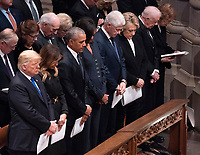 December 5, 2018 - Washington, DC, United States: United States President  Donald J. Trump, First Lady Melania Trump, Barack Obama, Michelle Obama, Bill Clinton, Hillary Clinton, Jimmy Carter and Rosalyn Carter attend the state funeral service of former President George W. Bush at the National Cathedral.  <br /> Credit: Chris Kleponis / Pool via CNP / MediaPunch