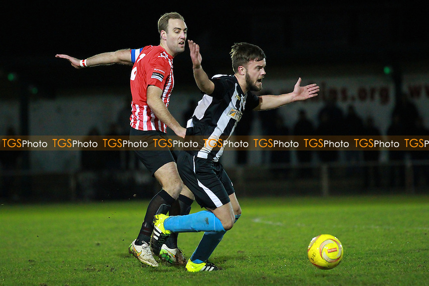 Elliot Styles of Hornchurch tangles with Jack Carlile of Tilbury during AFC Hornchurch vs Tilbury, Ryman League Divison 1 North Football at Hornchurch Stadium, Upminster Bridge, UK on 26/01/2016