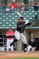 Chicago White Sox Jon Jay, on rehab assignment with the Charlotte Knights, at bat during an International League game against the Rochester Red Wings on June 16, 2019 at Frontier Field in Rochester, New York.  Rochester defeated Charlotte 11-5 in the first game of a doubleheader that was a continuation of a game postponed the day prior due to inclement weather.  (Mike Janes/Four Seam Images)