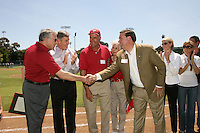 26 April 2008: Bud Klein's family, deputy director of athletics Ray Purpur, and athletic director Bob Bowlsby during the Bud Klein Field dedication ceremony before Stanford's 26-5 win against the USC Trojans at Sunken Diamond in Stanford, CA.