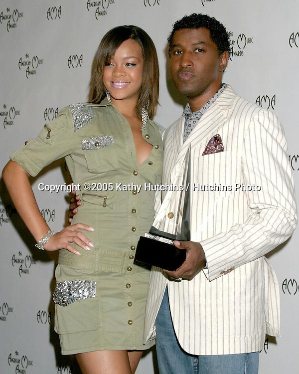 "Rhianna .Kenny ""Babyface"" Edmonds.American Music Awards Nominiations 2005.Beverly Hills Hotel.Los Angeles, CA.September 20, 2005.©2005 Kathy Hutchins / Hutchins Photo...."