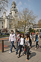 Photos for Kingston University  London international student brochures and prospectuses.??Lively and historic environment outside the Penrhyn Road campus. Busy lunchtime period and students walking with backdrop of County Hall building.??Date Taken: 19/04/10??Location: Penrhyn Rd campus.??Contact:??Commissioned by:  Kingston University - Emma Carlino?Emma Carlino.International Marketing Communications Manager.International Centre.Kingston University London.Swan Wing, River House.53-57 High Street.Kingston upon Thames.London.KT1 1LQ.UK.Tel: +44(0)20 8417 3006.Fax: +44(0)20 8417 3028.Email: e.carlino@kingston.ac.uk.Website: www.kingston.ac.uk/international