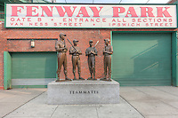 Teammates statue outside Gate B at Fenway Park on Van Ness Street in Boston, Massachusetts