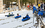 COLEBROOK, CT-012118JS03--A large crowd turned out for snow tubing Sunday at Camp Jewell in Colebrook. The YMCA camp offers free community tubing on Sunday's from 2-4 p.m. weather permitting. <br /> Jim Shannon Republican-American
