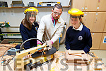 CBS teacher, Mike Tim O'Sullivan demonstrating woodwork with Claudia Dosal and Rachael O'Sullivan from the Tralee Presentation Secondary school in CBS Secondary school on Thursday.