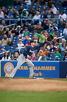 New Hampshire Fisher Cats first baseman Cavan Biggio (6) waits to receive a throw during a game against the Trenton Thunder on August 19, 2018 at ARM & HAMMER Park in Trenton, New Jersey.  New Hampshire defeated Trenton 12-1.  (Mike Janes/Four Seam Images)