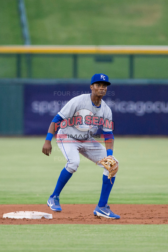 AZL Royals second baseman Esteury Ruiz (4) on defense against the AZL Cubs on July 19, 2017 at Sloan Park in Mesa, Arizona. AZL Cubs defeated the AZL Royals 5-4. (Zachary Lucy/Four Seam Images)