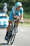 SITTARD, NETHERLANDS - AUGUST 16: Evan Huffman of USA riding for Astana Pro Team competes during stage 5 of the Eneco Tour 2013, a 13km individual time trial from Sittard to Geleen, on August 16, 2013 in Sittard, Netherlands. (Photo by Dirk Markgraf/www.265-images.com)