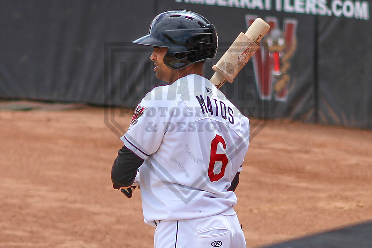 APPLETON - August 2014: Sthervin Matos (6) of the Wisconsin Timber Rattlers during a game against the Beloit Snappers on August 26th, 2014 at Fox Cities Stadium in Appleton, Wisconsin.  (Photo Credit: Brad Krause)