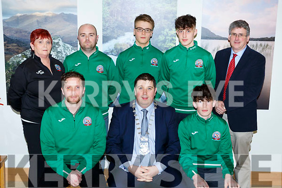 Killarney Mayor Niall Kelleher presented  a Killarney Municipal District award to St Brendans College Soccer team that won the u15 National Cup in Killarney House on Friday night front row l-r: Trevor Nagle, Niall Kelleher, Neil O'Shea. Back row: Geraldine Nagle, Joe Hurley, Matas Staros, Ryan O'Grady and Ed O'Neill.