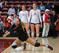 STANFORD, CA - October 12, 2018: Morgan Hentz at Maples Pavilion. No. 2 Stanford Cardinal swept No. 21 Washington State Cougars, 25-15, 30-28, 25-12.