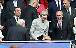 France's Emmanuel Macron with Theresa May during the Friendly match at Stade De France Stadium, Paris Picture date 13th June 2017. Picture credit should read: David Klein/Sportimage