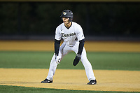 Stuart Fairchild (4) of the Wake Forest Demon Deacons takes his lead off of first base against the Kent State Golden Flashes in game two of a double-header at David F. Couch Ballpark on March 4, 2017 in Winston-Salem, North Carolina.  The Demon Deacons defeated the Golden Flashes 5-0.  (Brian Westerholt/Four Seam Images)