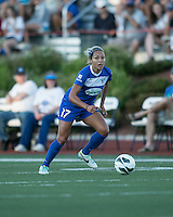 In a National Women's Soccer League Elite (NWSL) match, the Boston Breakers defeated the FC Kansas City, 1-0, at Dilboy Stadium on August 10, 2013.  Boston Breakers forward Kyah Simon (17).