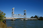 California, CA, Delta, movable bridge, vertical lift..Photo  caggbr207.  .Photo Copyright: Lee Foster, www.fostertravel.com, 510-549-2202, lee@fostertravel.com